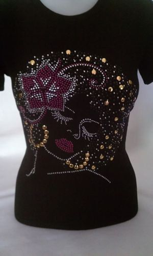 Rhinestones Shirts T Hair Natural