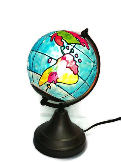 Vintage world map lamp small lamp made of glass and metal world vintage world map lamp small lamp made of glass and metal by genesisvintageshop on etsy gumiabroncs Images