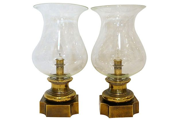 brass hurricane shade lamps pair on onekingslane com lamps rh pinterest com