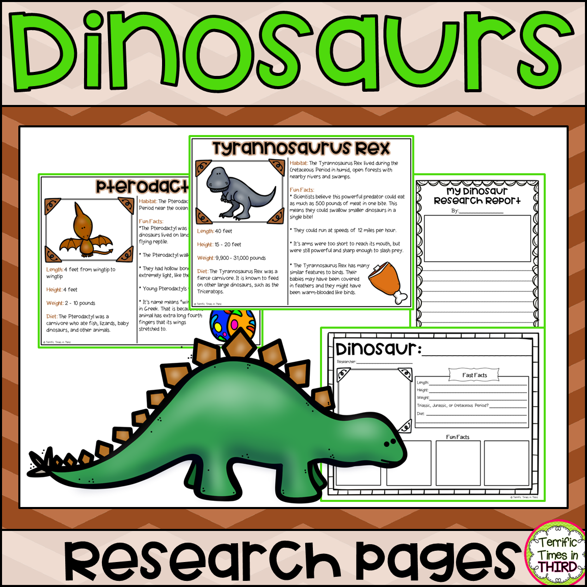 Dinosaurs Research Pages Read And Write About 9 Different
