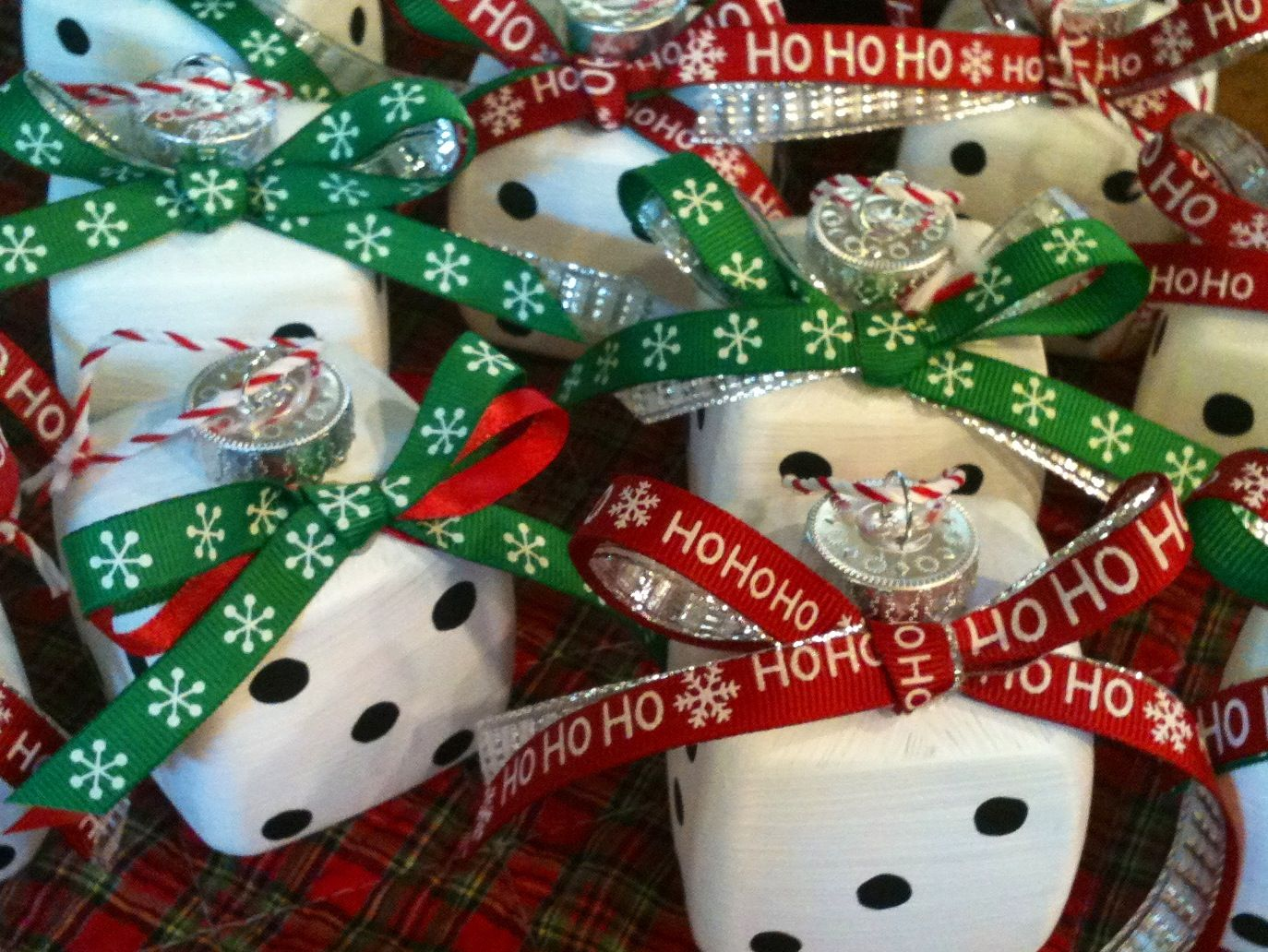 These Are The Bunco Ornaments I Made They Started Out As Boring Clear Plastic Cubes I Found At Michael S W Bunco Gifts Bunco Themes Clear Christmas Ornaments