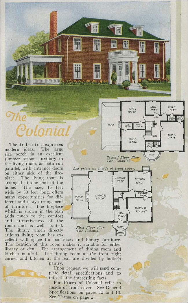 Of The House Styles That Were Most Popular During The First Quarter Of The 20 Century The Colonial Revival Was On Vintage House Plans How To Plan House Styles
