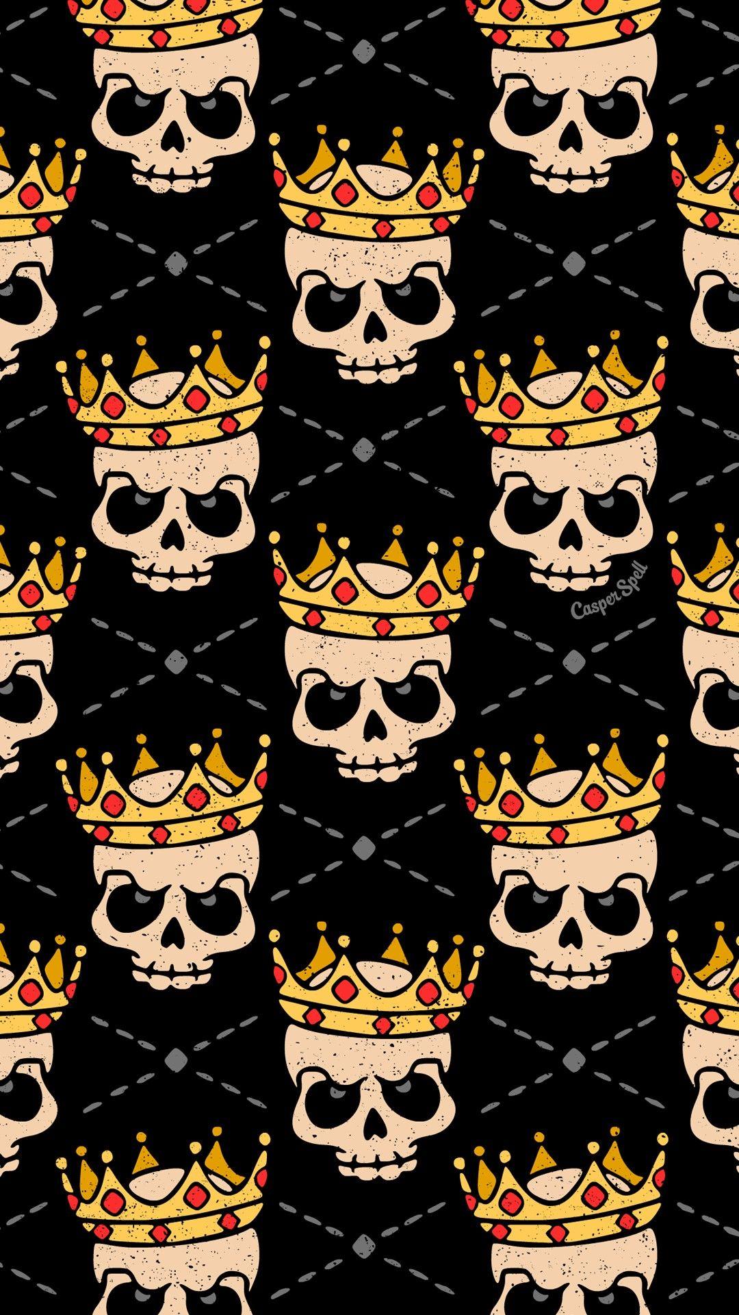 Skull Royal Royalty King Repeat Pattern Wallpaper