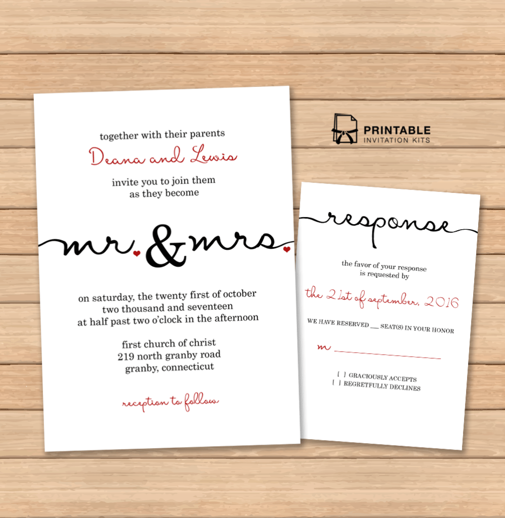 Free PDF wedding templates with easy to edit textboxes– Calligraphy ...