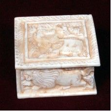 Square Shape Bone Made Box with Elephant & Lion Design is a fabulous home decorative that will steal your attention. The superior handmade box is bone fitted, and comes with fascinating carvings of lion and elephant. It will definitely uplift the overall appearance of your home.Note: This is Handcraft Item so each item will be different than other due to limitation of photography.