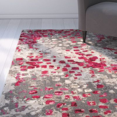 Latitude Run Mila Gray/Red Area Rug Rug Size: Square 6\'-7 ...
