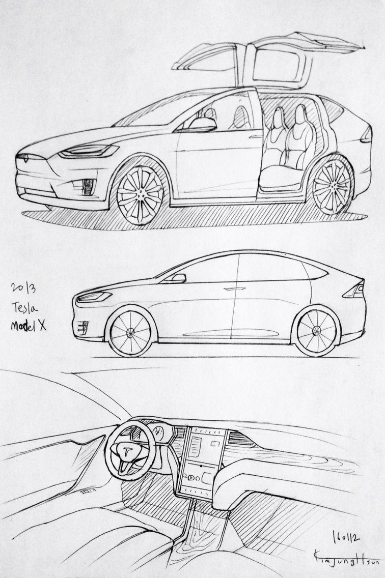 Tesla car blueprints tesla image car drawing 160112 2016 tesla model x prisma on paper kim j h malvernweather Images