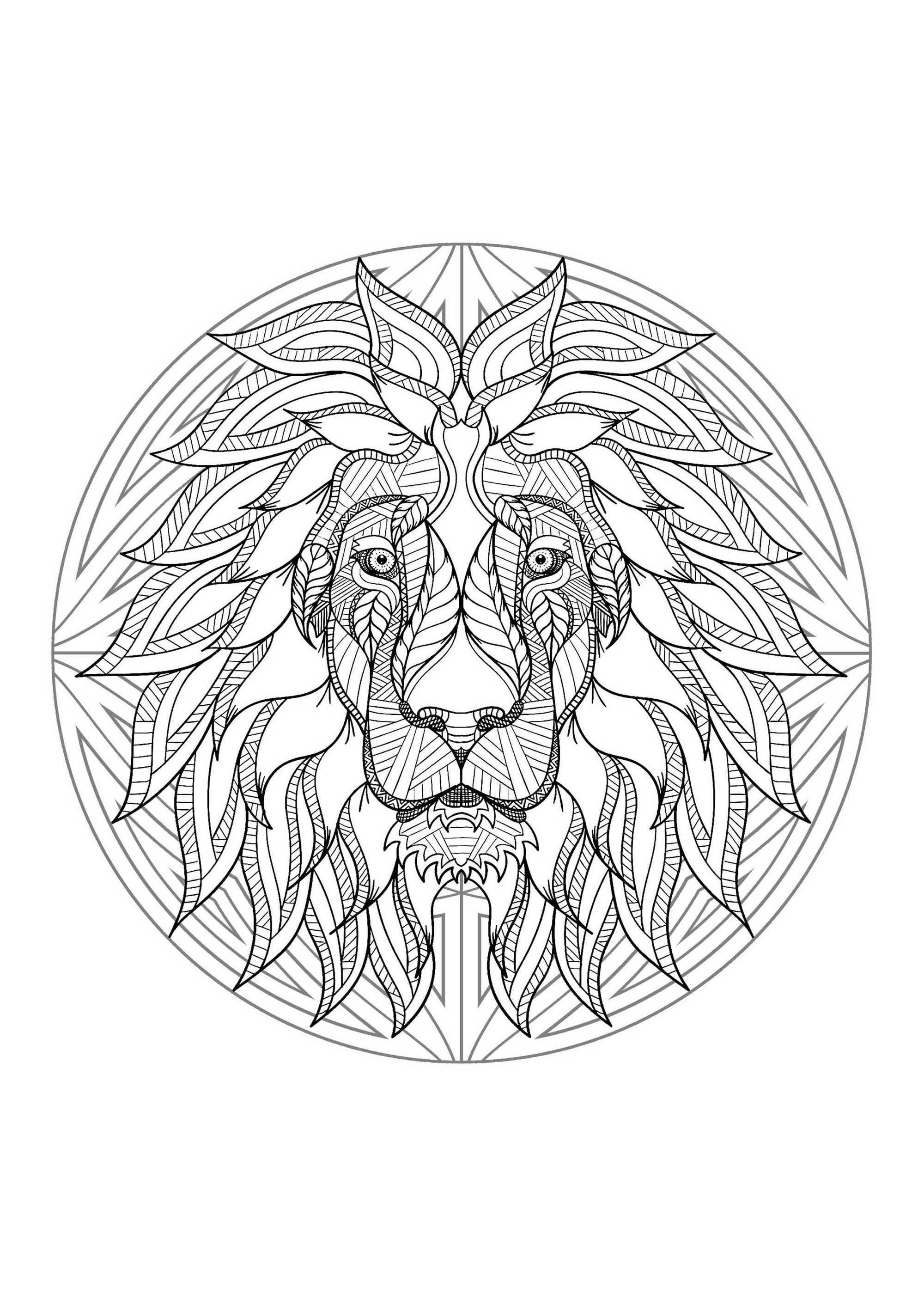 Mandala To Color With Very Special Lion Head And Simple Patterns