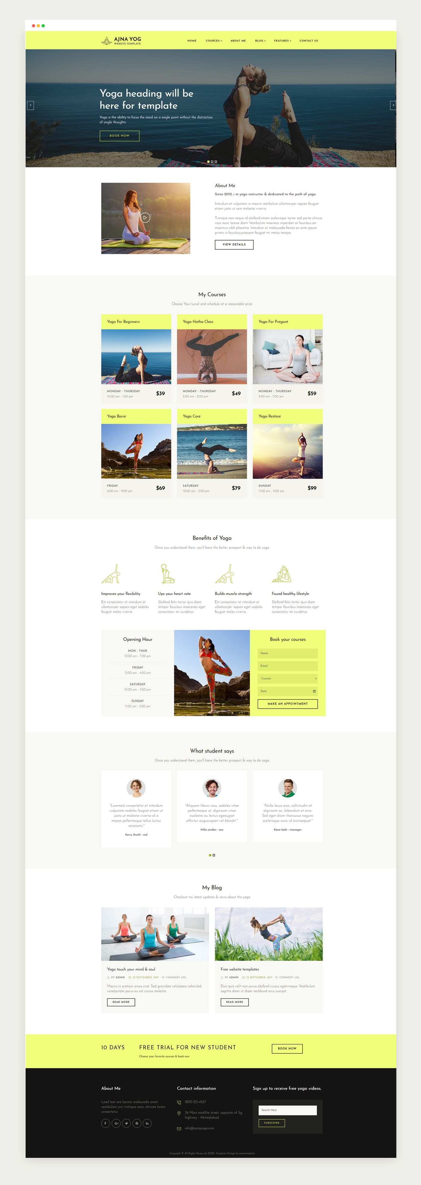 Ajna Yoga Instructor Responsive Web Templates On Behance