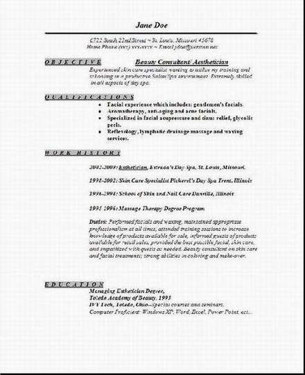 Professional Resume Cover Letter Sample Aesthetician Resume2 - resume indeed