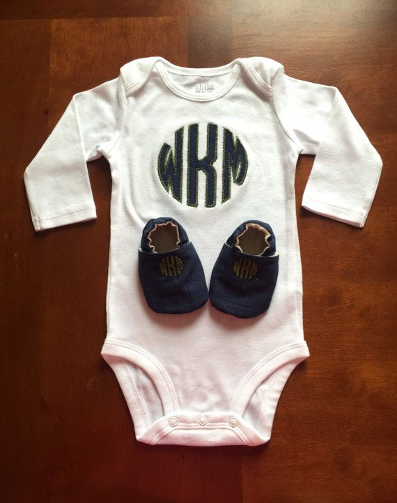 Baby Boy Monogrammed Onesie with Matching Shoes by Zaltique ...