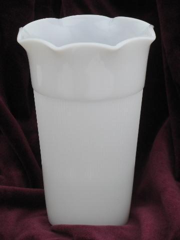 Vintage Hazel Atlas Milk White Glass Vase Ribbed Jane Ray Pattern