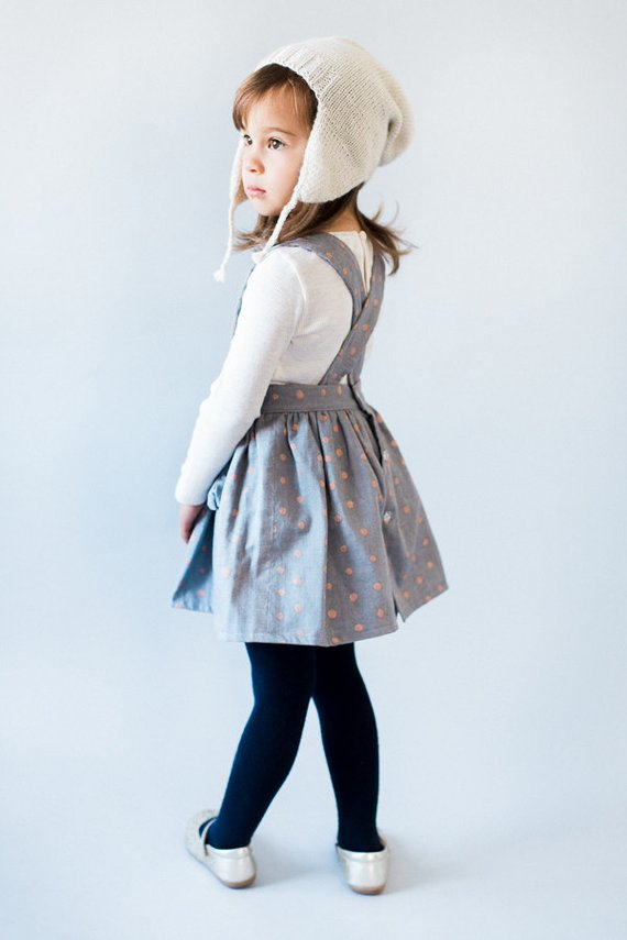 ca201b3f1cc2 Toddler Pinafore Dress - Toddler Dress - Vintage Girls Dress- 2T, 3T, 4T,  5T Gray with Copper Dots