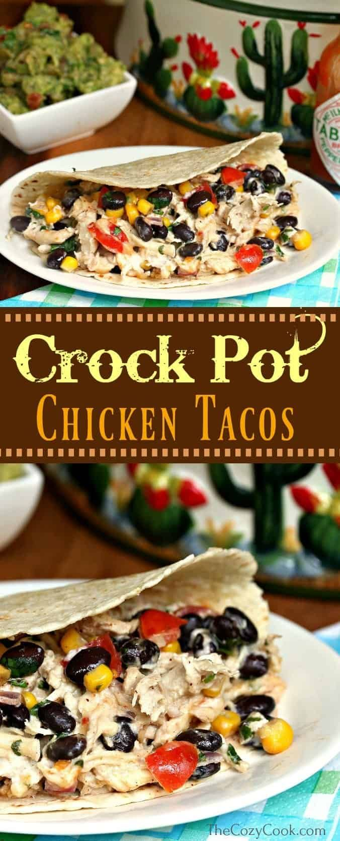 These crock pot chicken tacos are loaded with shredded chicken and a creamy taco mixture full of your favorite Mexican flavors! This is delicious over lettuce wraps, rice, or taco shells! | The Cozy Cook | #Tacos #Chicken #CrockPot #SlowCooker #Mexican #Dinner #TacoTuesday #ShreddedChicken #BlackBeans #shreddedchickentacos