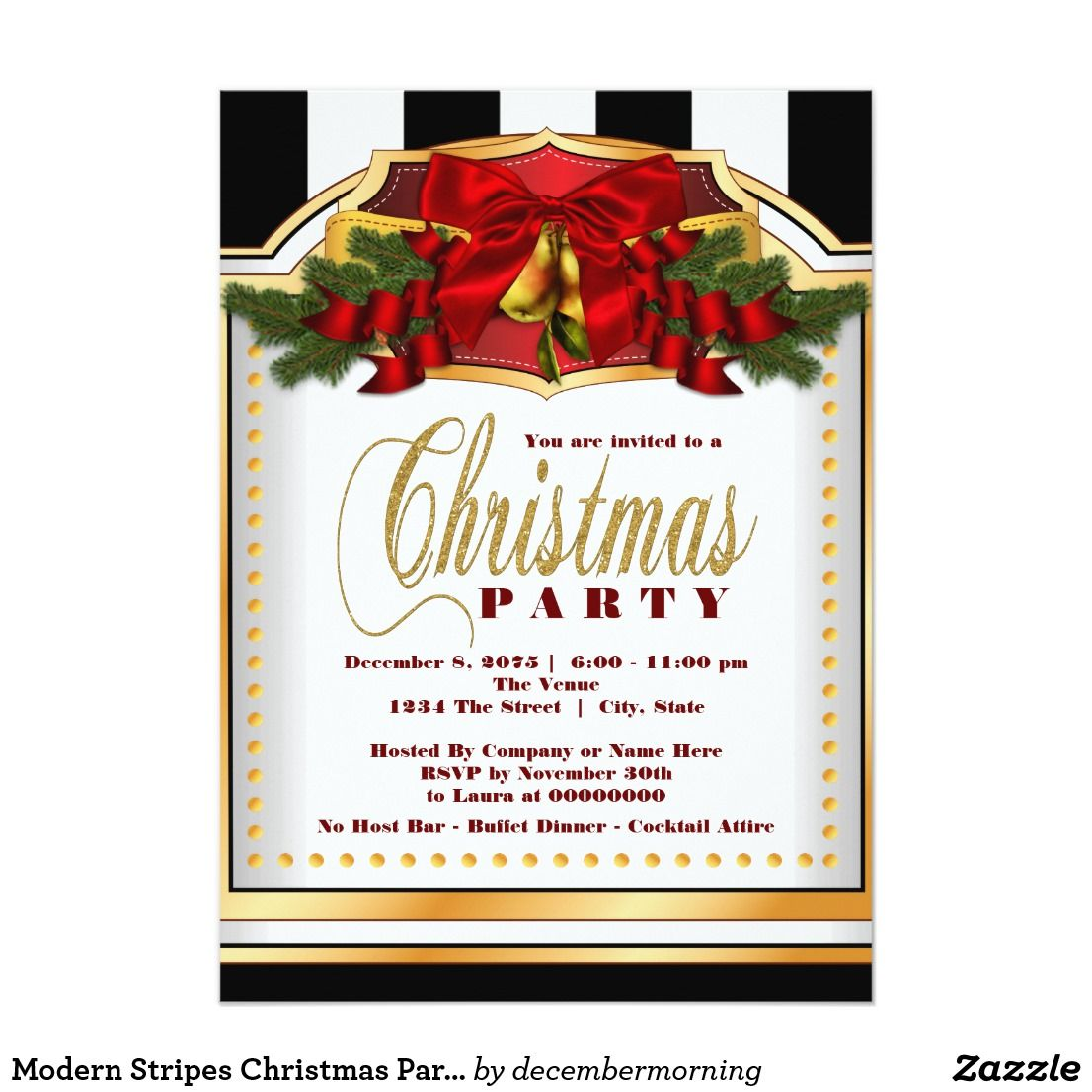 Modern Stripes Christmas Party Card