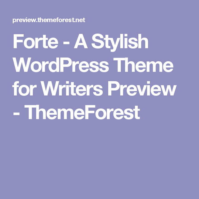 A Stylish WordPress Theme For Writers Preview