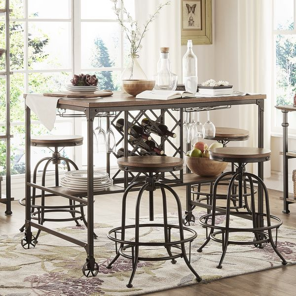 Berwick Industrial Style Counter Height Pub Dining Set With Wine Rack By  INSPIRE Q Classic By INSPIRE Q