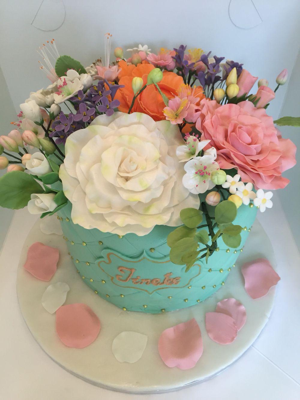 Mint green flower bouquet cake | My cakes | Pinterest | Mint green ...