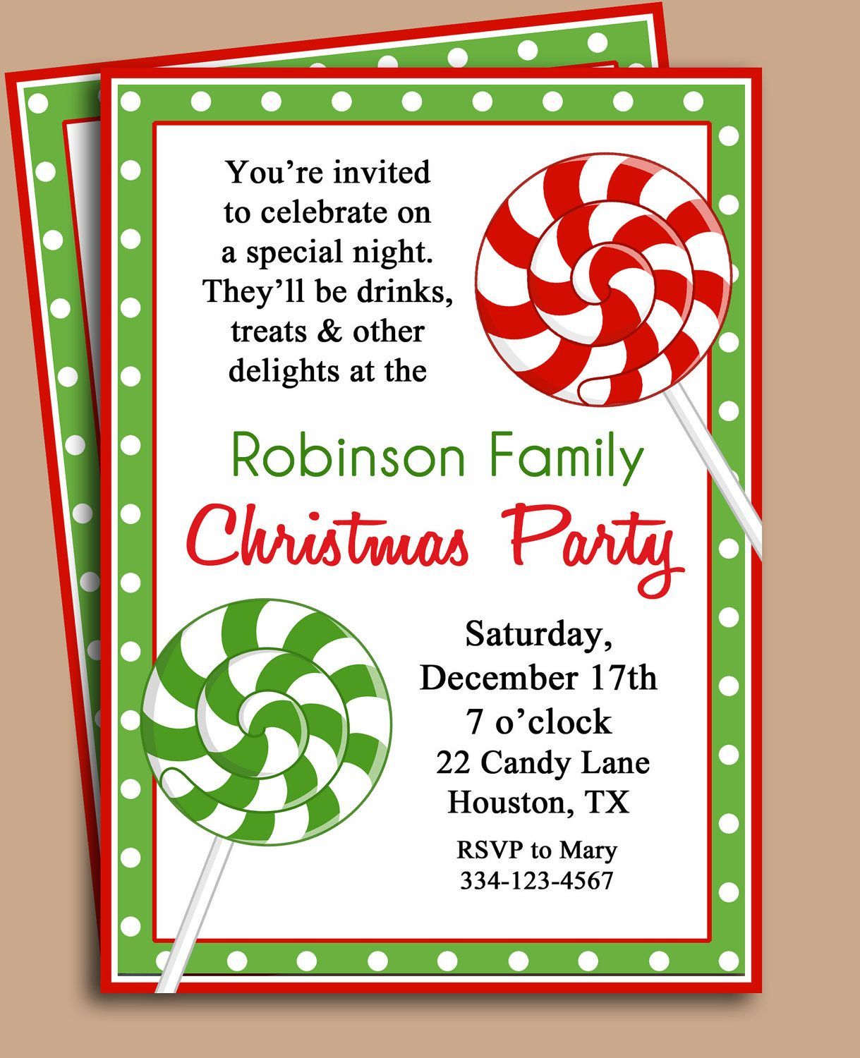 Christmas Party Invitation Printable Lollipop by