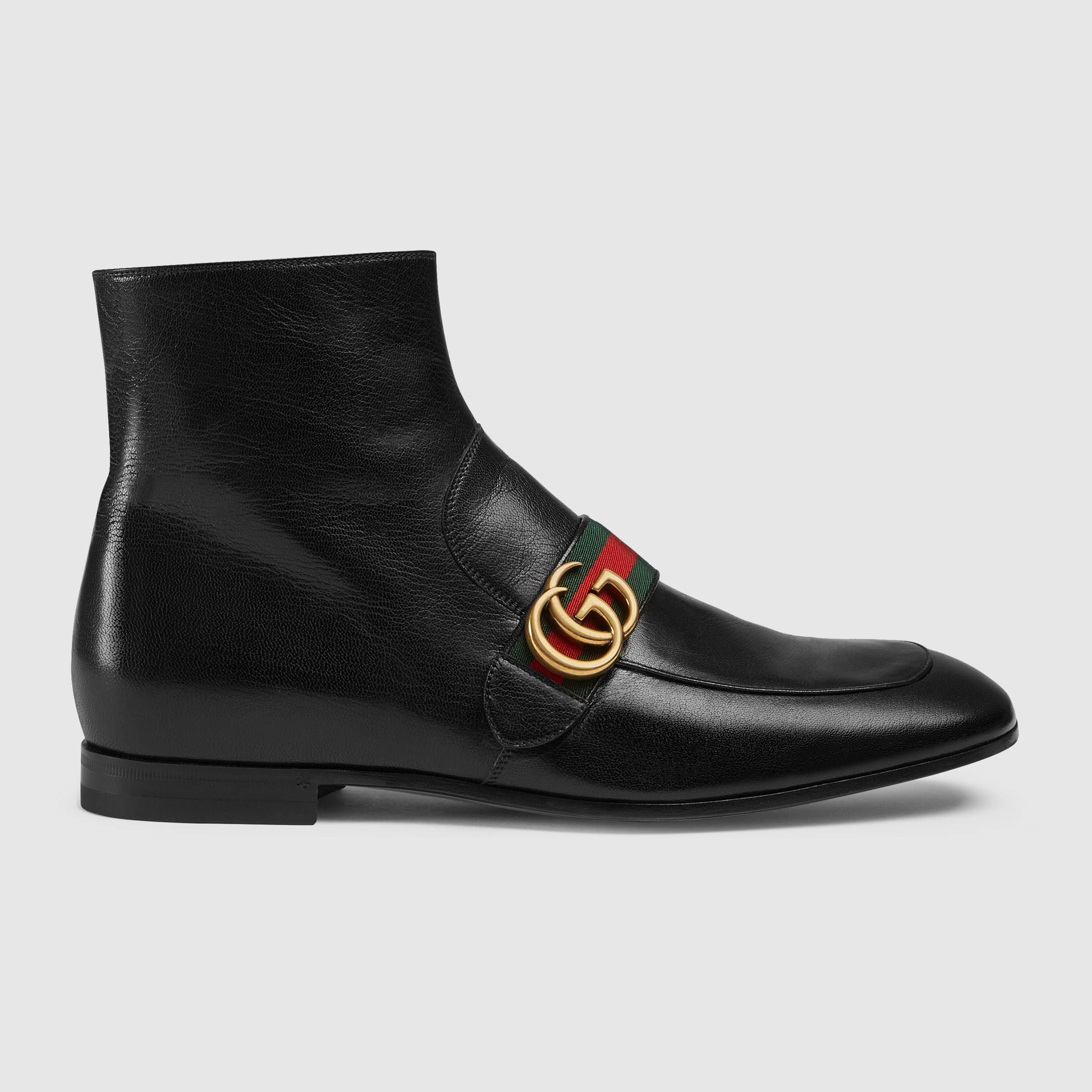 1 050 Gucci Leather Boot With Double G In Brown Or Black Sold By Gucci Affiliate The Leather Ankle Gucci Men Shoes Mens Leather Boots Mens Designer Boots