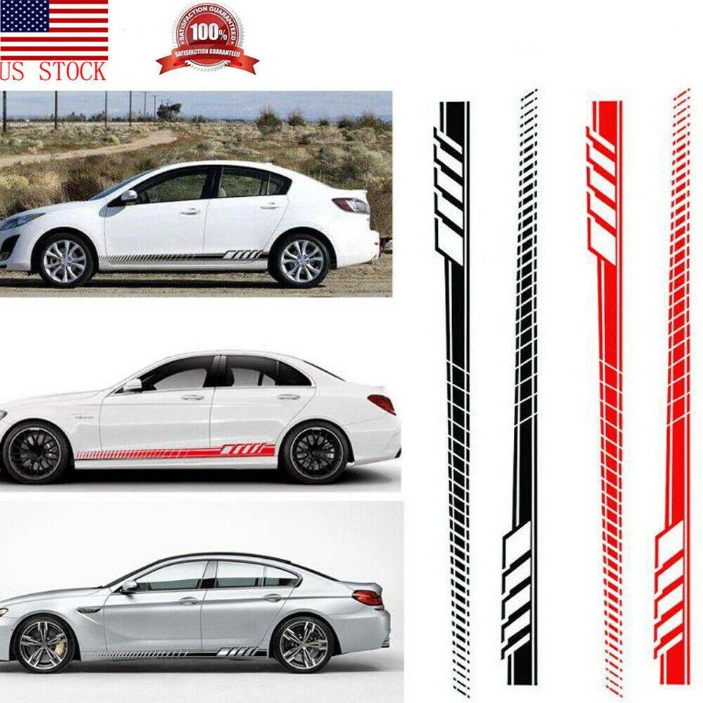 2Pcs Universal Car Side Body Sticker Sports Racing Race Car Long Stripe Decal