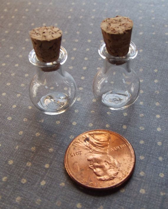 2 Tiny Round Apothecary Jars / Mixed Media Supplies by VeneciaArt
