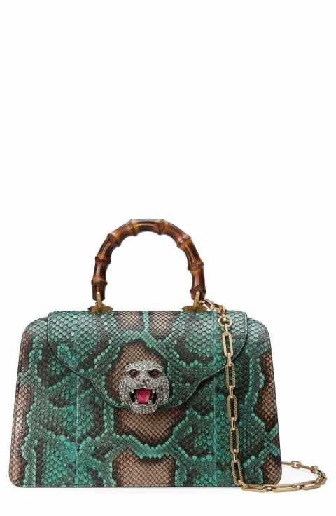 6ff206b1ca2 Gucci Medium Gatto Genuine Python Satchel
