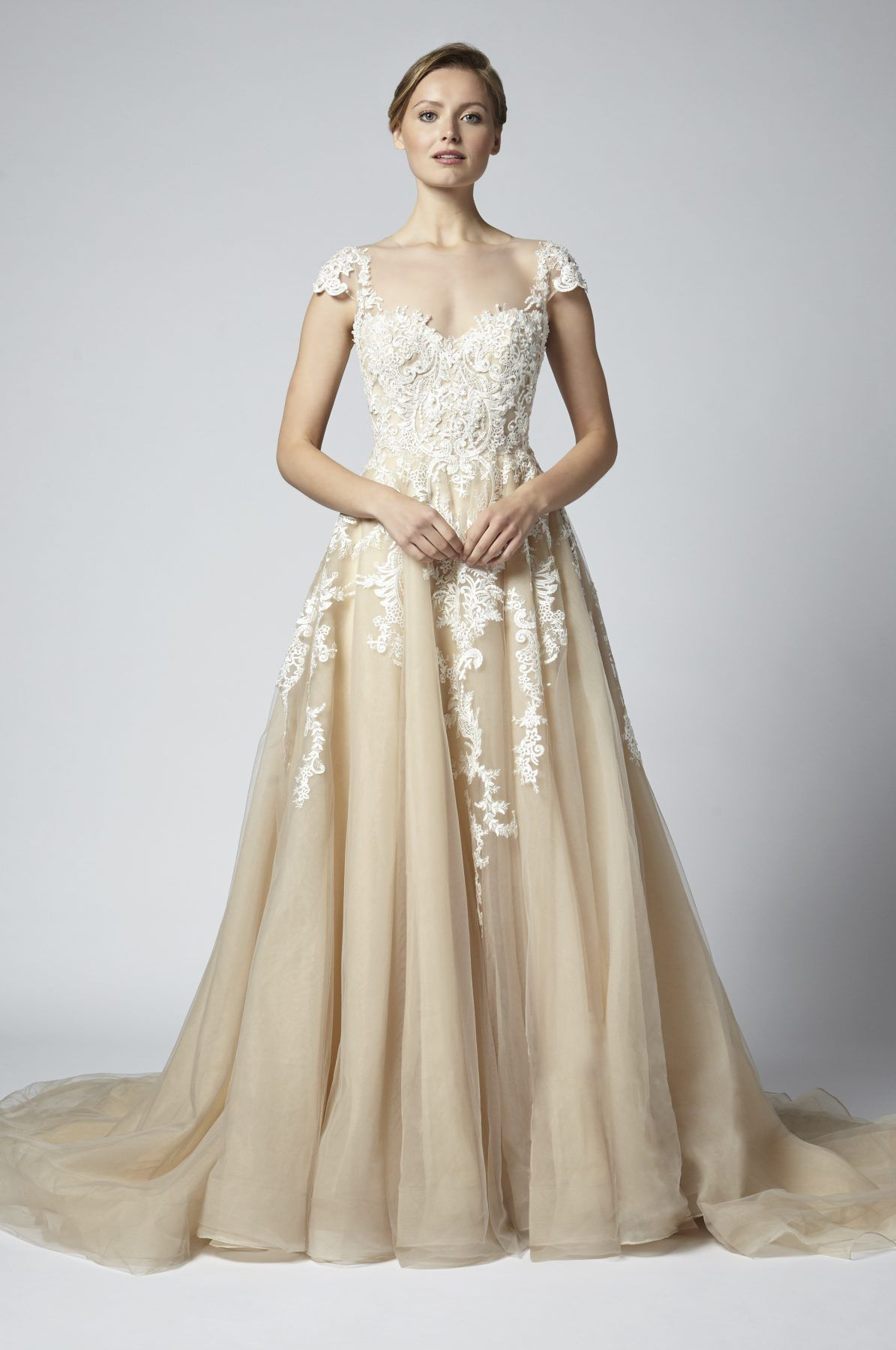 Champagne aline floral embroidered wedding dress with illusion