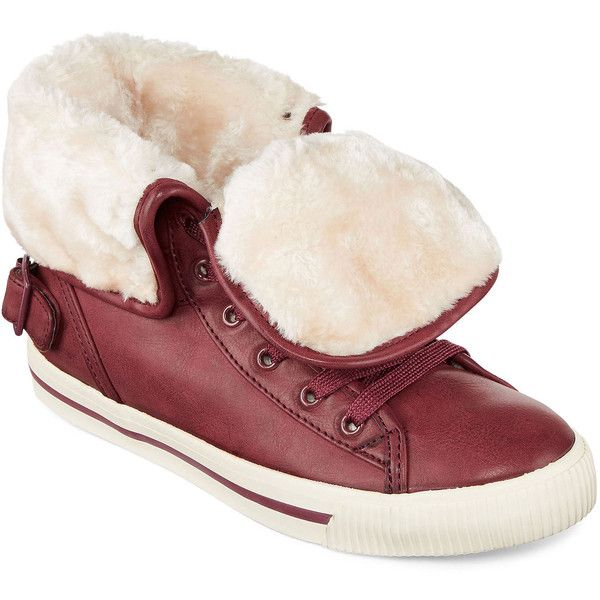 Arizona Criss Faux Fur Lace-Up Sneakers ($30) ❤ liked on Polyvore featuring shoes, sneakers, lace up sneakers, foldable shoes, faux fur shoes, arizona shoes and laced sneakers