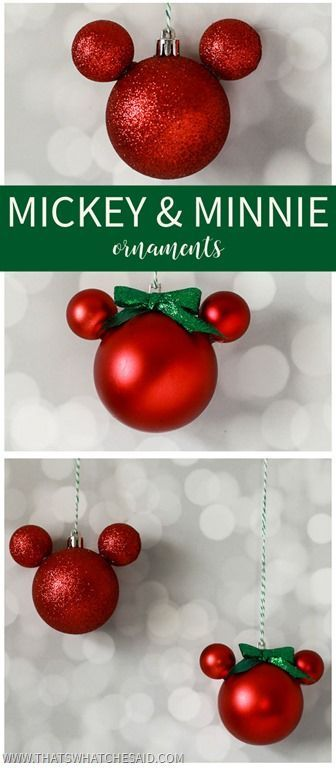 Easily make Mickey & Minnie Mouse Ornaments using shatterproof ball ornaments and some hot glue!  So easy to make and so adorable on your tree or as a gift topper!