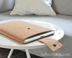 halbachblog I DIY: Tablet-Hülle aus Korkstoff nähen I Kork I cork fabric I Filz I felt I sewing I craft I crafting