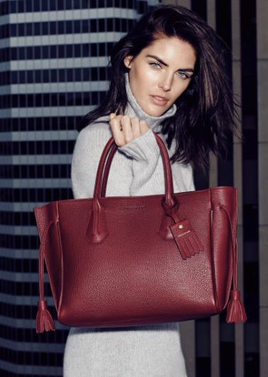 Longchamp: Leather Penelope tote in opera. $1025.