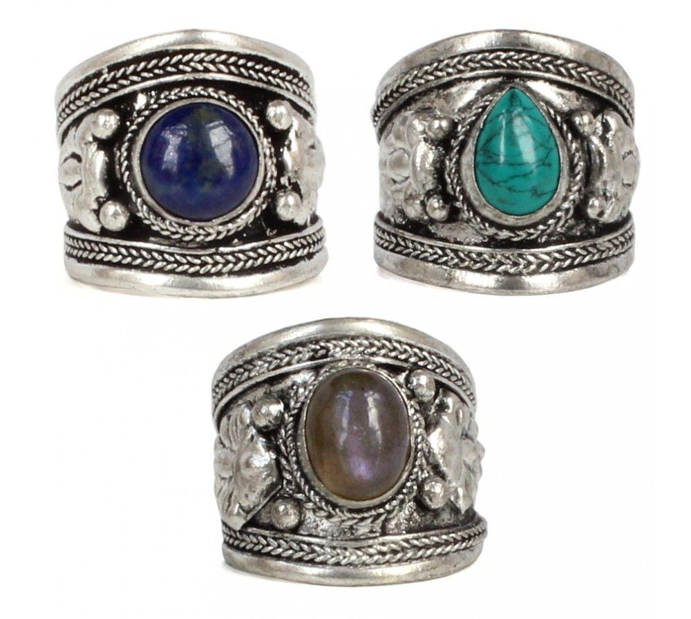 Lot de 30 Mix La nature pierre ring argent Metal bagues Bijoux Homme femme bague