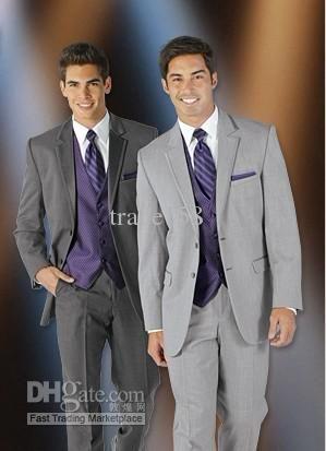 Custom Made Light Gray Groom Tuxedos Wedding Suits Men Prom