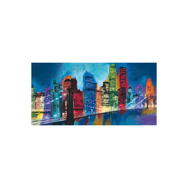 Captivating Abstract NYC Skyline At Night Wall Art Print (395 NOK) ❤ Liked On Polyvore