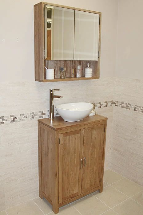 Oak Vanity Unit With Mirror | Bathroom | Prestige