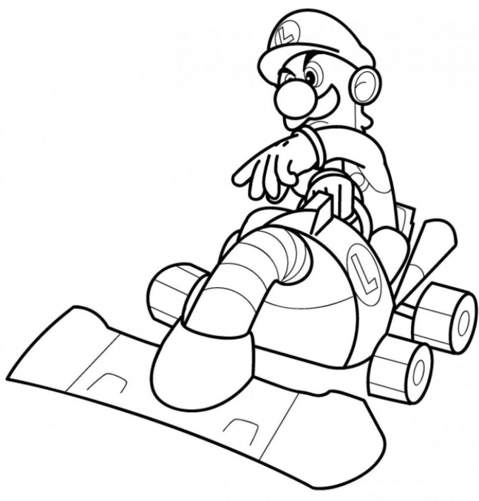 Mario kart 8 coloring pages - Luigi Coloring Pages Printables