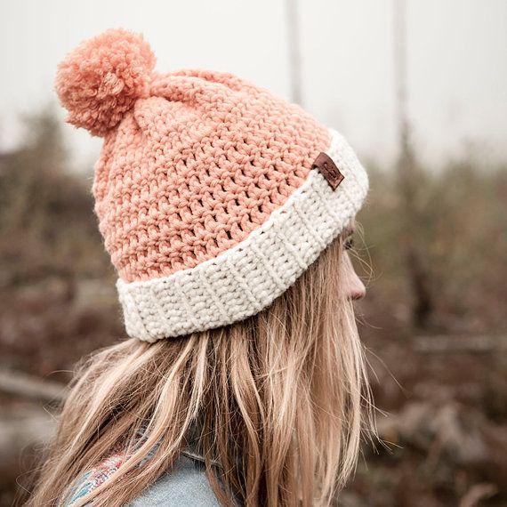handmade, crochet Beanie PELLE, fold over brim beanie, unisex ...