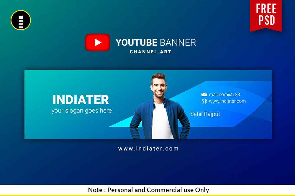 Free Vlogger Youtube Channel Banner PSD Template Sahil Rajput