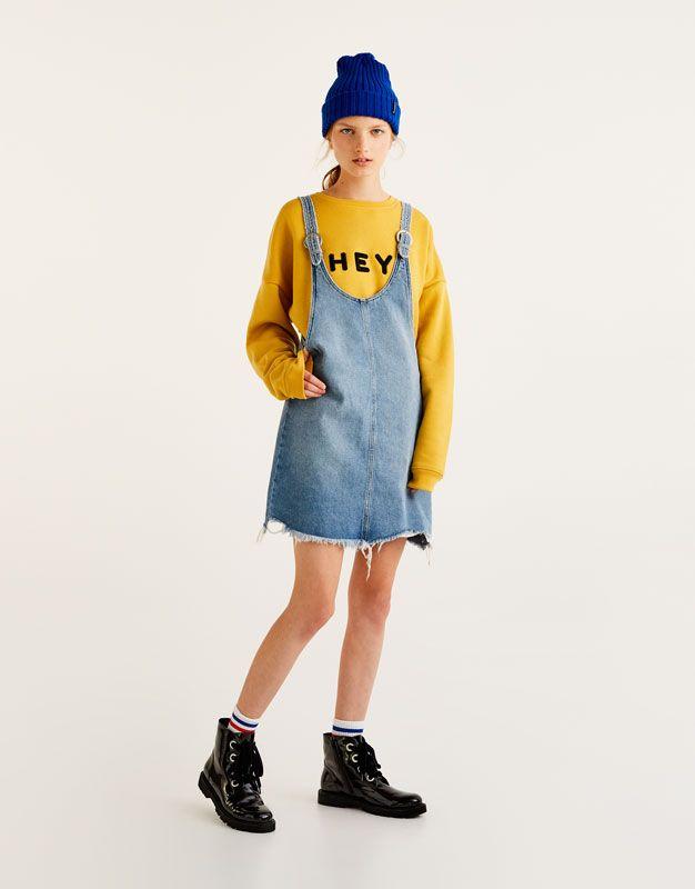 Pull Bear - donna - abbigliamento - vestiti - vestitino denim sfilacciato -  azzurro chiaro - 09391322-I2017 c0a010b210e