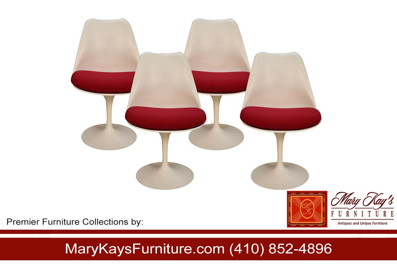 Classic midcentury modern set of four armless tulip