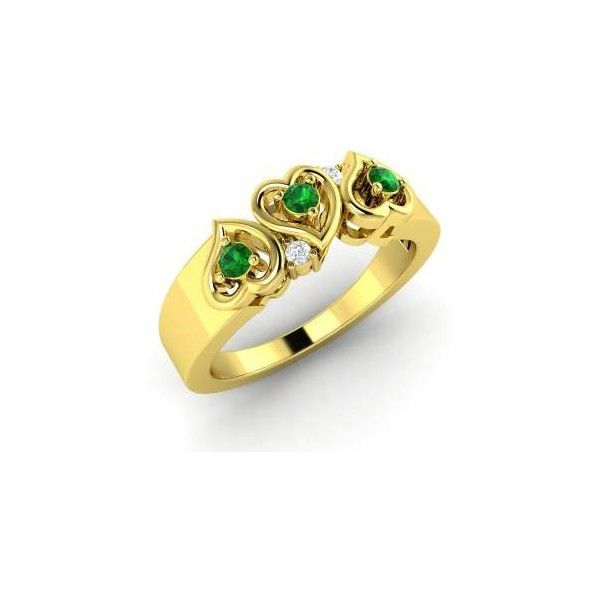 Diamondere Round Emerald VS Diamond 14k Yellow Gold Sidestone Ring ($633) ❤ liked on Polyvore featuring jewelry, rings, 14 karat gold ring, heart ring, 14k gold ring, emerald heart ring and gold heart ring