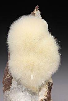 Fuzzy rock.  Mesolite, a tectosilicate mineral. Occurs in amygdaloidal basalt and similar rocks. New Mexico.