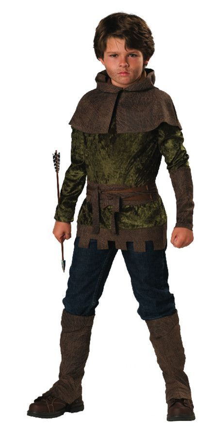 Tunic, hood, belt, gauntlet and shoe covers. (Toy arrow not included) Child size 4.