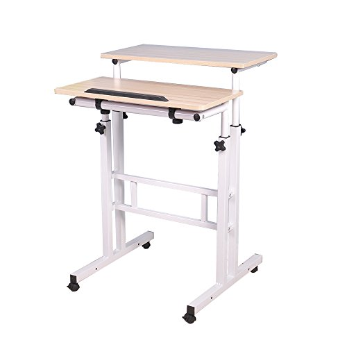 Sogesfurniture Height Adjustable Stand Up Desk Computer Stand Desk Home Office Desk With Standing And Seating Maple Bhus 101 Mp Online Furniture In 2020 Home Office Computer Desk Sit Stand Desk Rolling Desk