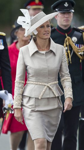 Sophie, Countess of Wessex arrives to take the salute at The Sovereigns Parade at The Royal Military Academy on 9 Aug 2013 in Sandhurst