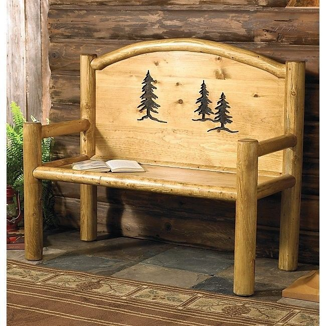 Rustic Bench - Country Western Cabin Log Wood Living Room ...