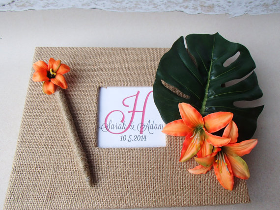 Orange Tiger Lily & Palm Tropical Guest Book Set by ParadiseBridal