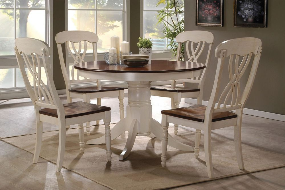 5 Pc Country Style 2 Tone White Cherry Wood Round Table Seat Dining Kitchen  Set