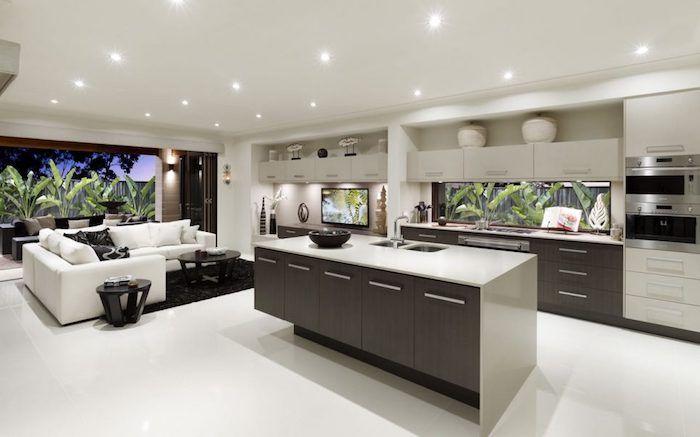 ▷ 1001 + idées pour aménager une cuisine ouverte dans lu0027air du temps - cuisine avec ilot central et table